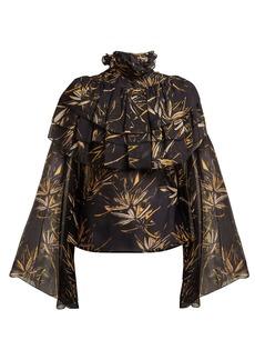 Rodarte Palm-print silk-chiffon blouse