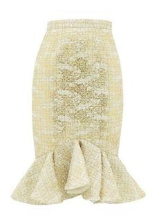 Rodarte Peplum-hem metallic-tweed skirt