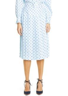Rodarte Polka Dot Pleated Silk Twill Midi Skirt