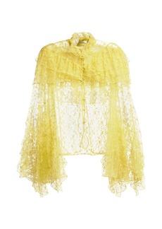 Rodarte Ruffle-trimmed high-neck floral-lace blouse