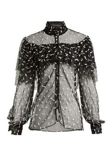 Rodarte Ruffled bow-appliqué tulle blouse