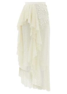 Rodarte Ruffled floral-appliqué Swiss-dot tulle skirt