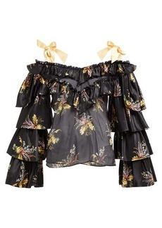 Rodarte Ruffled floral-print silk-blend blouse