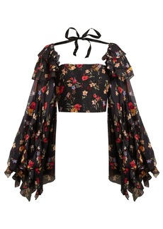 Rodarte Square-neck floral-print silk-blend blouse