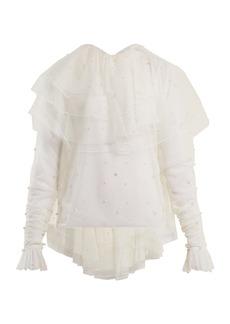 Rodarte Tiered-ruffle tulle blouse