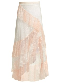 Rodarte Tiered ruffled lace midi skirt