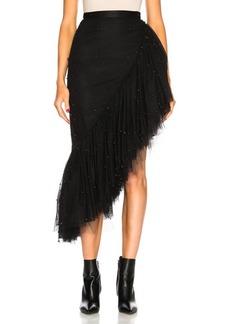 Rodarte Tulle & Black Pearl Asymmetric Ruffle Skirt