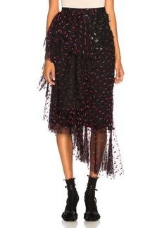 Rodarte Tulle & Pleather Hip Ruffle Skirt