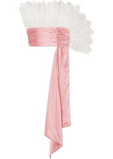 Rodarte Ruffled Broderie Anglaise And Satin Bustier Top