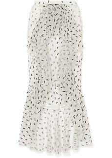 Rodarte Ruffled Embellished Tulle Midi Skirt