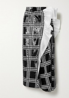 Rodarte Silk-organza Trimmed Checked Sequined Stretch-knit Maxi Skirt