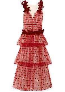 Rodarte Velvet-trimmed Appliquéd Layered Tulle Gown
