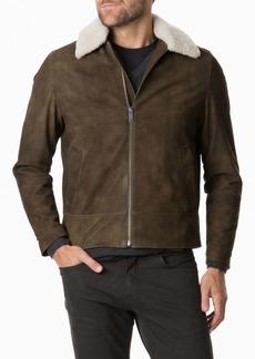 Rodd & Gunn Mayfield Park Genuine Shearling Trim Leather Jacket
