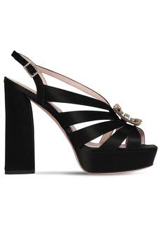 Roger Vivier 120mm Embellished Satin Platform Sandals