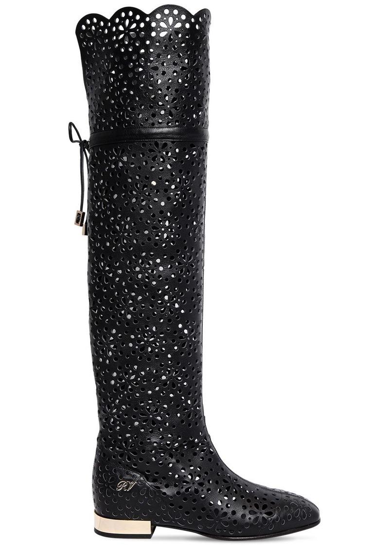 Roger Vivier 15mm Laser-cut Leather Boots