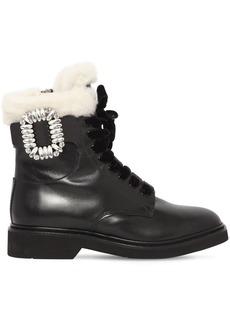 Roger Vivier 30mm Viv Ranger Leather & Shearling Boot
