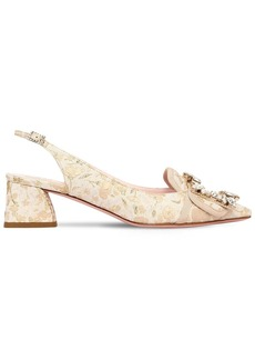 Roger Vivier 45mm Buckle Slingback Brocade Pumps