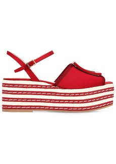 Roger Vivier 70mm Striped Viscose Platform Sandals