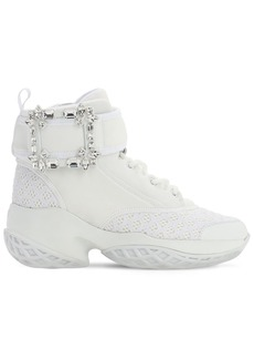 Roger Vivier 75mm Viv Run Neoprene Sneaker W/crystals