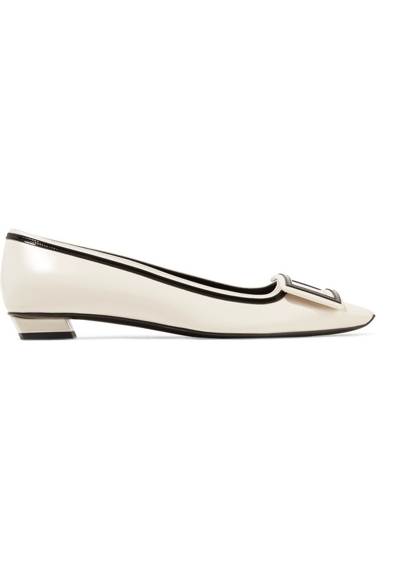 Roger Vivier Belle Vivier Graphic Patent-trimmed Leather Flats