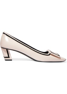 Roger Vivier Belle Vivier Graphic Patent-trimmed Leather Pumps