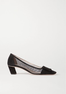 Roger Vivier Belle Vivier Net Suede And Mesh Pumps