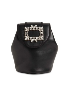 Roger Vivier Broche Mini Leather Backpack W/crystals