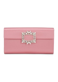 Roger Vivier Broche Satin Clutch W/ Crystal Buckle