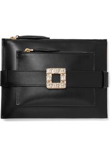 Roger Vivier Convertible Crystal-embellished Leather Clutch