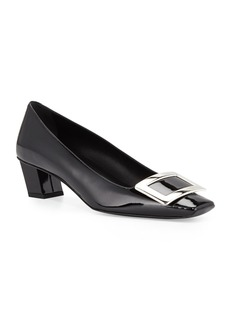 Roger Vivier Decollette Belle Vivier Patent Pumps  Black