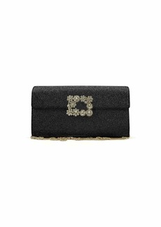 Roger Vivier Envelope Flap Sexy Clutch Bag  Black