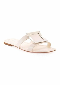 Roger Vivier Flat Leather Buckle Sandals