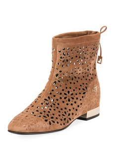 Roger Vivier Floral-Perforated Suede Flat Booties