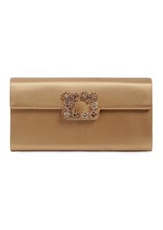 Roger Vivier Flower Buckle Silk Envelope Clutch