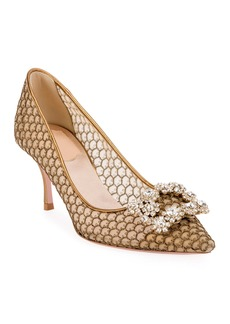 Roger Vivier Flower Strass Mesh Pumps