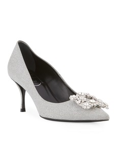 Roger Vivier Glitter Fabric Flower-Crystal Buckle Pumps