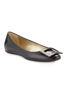 Roger Vivier Gomette Patent Leather Flat  Black