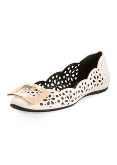 Roger Vivier Gommette Perforated Lamb Leather Ballet Flats with Metal Buckle