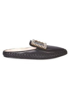 Roger Vivier Lounge Embellished Leather Buckle Mules