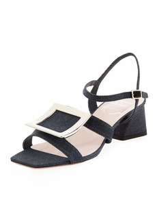 Roger Vivier Metal Buckle Denim Sandals