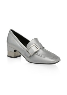 Roger Vivier Metallic Leather Heeled Buckle Loafers