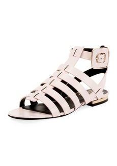 Roger Vivier Mini Buckle Strappy Flat Calf Leather Sandal