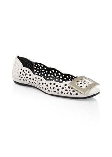 Roger Vivier Gommette Laser-Cut Metallic Leather Flats