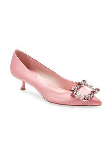 Roger Vivier Brochamour Crystal Heart Buckle Pointed Toe Pump (Women)