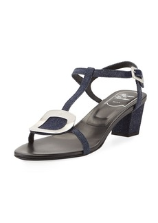 Roger Vivier Chips Denim Block-Heel Sandal