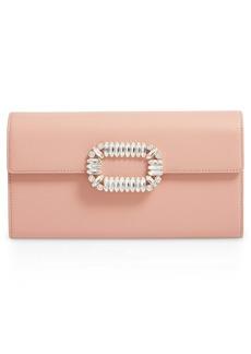 Roger Vivier Crystal Buckle Leather Envelope Clutch