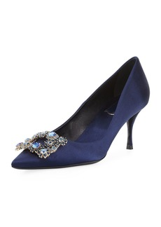 Roger Vivier Crystal Buckle Satin Pumps