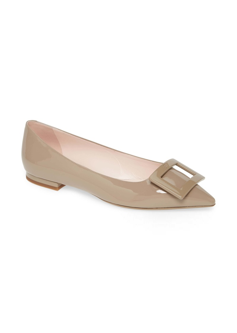 Roger Vivier Gommettine Buckle Pointy Toe Flat (Women)