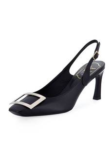 Roger Vivier Leather Slingback Buckle Pumps