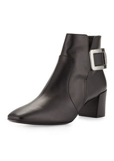 Roger Vivier Polly Leather Side-Buckle Ankle Boots